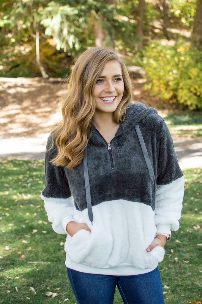 Sherpa Hoodie | Charcoal - Absolute Paris Boutique