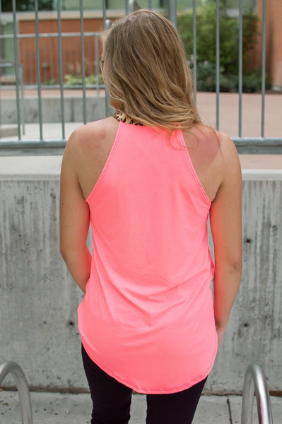 Rocker Tank | Neon Pink and Leopard-tops-Shop-Absolute Paris Boutique-Womens-Clothing-Store