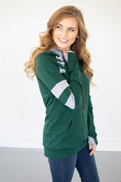 Hunter Green/Heather Grey Varsity Hoodie - Absolute Paris Boutique