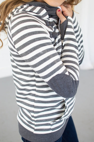 Charcoal Striped Hoodie-Hoodie-Shop-Absolute Paris Boutique-Womens-Clothing-Store