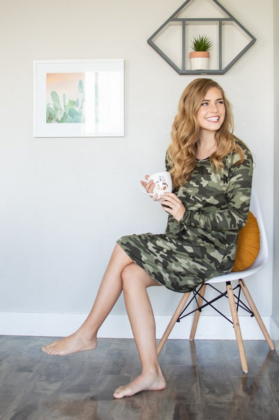 Lounge Dress | Camo-Lounge Wear-Shop-Absolute Paris Boutique-Womens-Clothing-Store