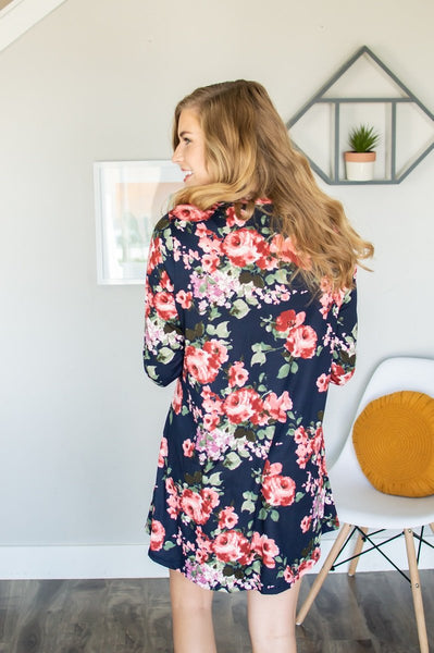 Lounge Dress | Navy Floral-Lounge Wear-Shop-Absolute Paris Boutique-Womens-Clothing-Store
