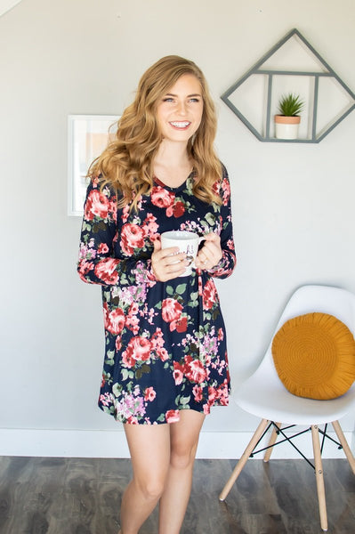 Lounge Dress | Navy Floral - Absolute Paris Boutique