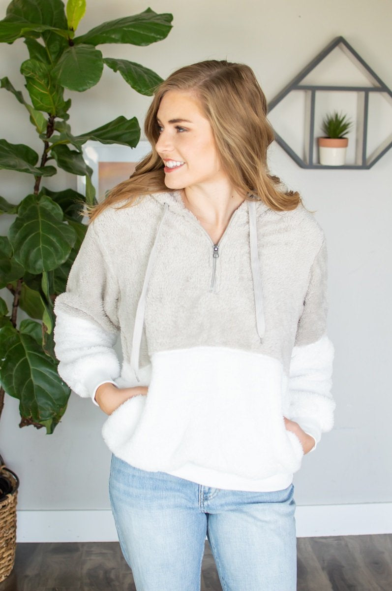 Sherpa Hoodie | Light Grey-Sherpa Hoodie-Shop-Absolute Paris Boutique-Womens-Clothing-Store
