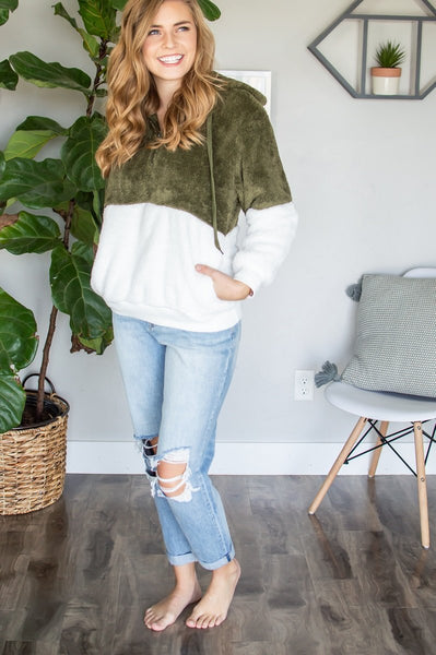 Sherpa Hoodie | Olive-Sherpa Hoodie-Shop-Absolute Paris Boutique-Womens-Clothing-Store