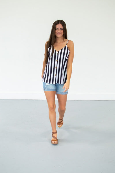 Button Down Tank | 13 Colors!-S-Stripes-Shop-Absolute Paris Boutique-Womens-Clothing-Store