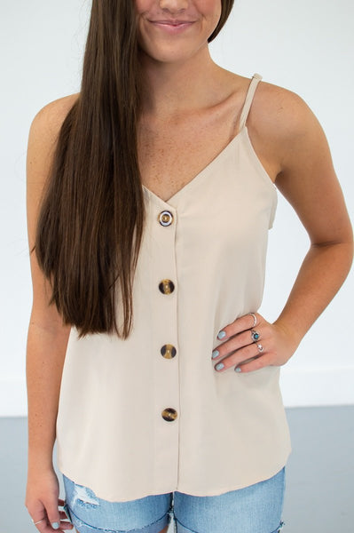 Button Down Tank | 13 Colors!-S-Creamy Taupe-Shop-Absolute Paris Boutique-Womens-Clothing-Store