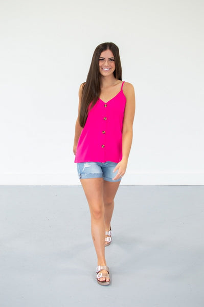 Button Down Tank | 13 Colors!-S-Hot Pink-Shop-Absolute Paris Boutique-Womens-Clothing-Store