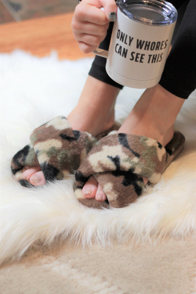 Ultra Fuzzy Camo House Shoes - Absolute Paris Boutique