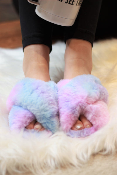 Ultra Fuzzy Tie Dye House Shoes - Absolute Paris Boutique