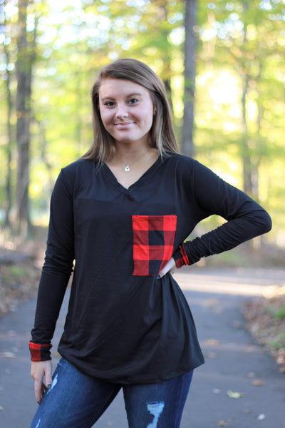Buffalo Plaid Pocket Top | Red and Black Buffalo - Absolute Paris Boutique