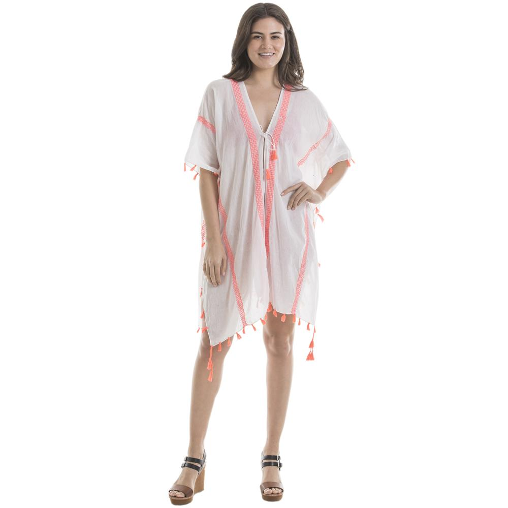 White & Pink Swimsuit Cover-Up for Women-swimsuit cover ups-White / Pink-Shop-Absolute Paris Boutique-Womens-Clothing-Store