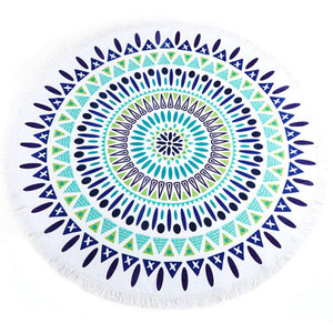 Blue Mandela Round Beach Towel-Beach Towels-Shop-Absolute Paris Boutique-Womens-Clothing-Store