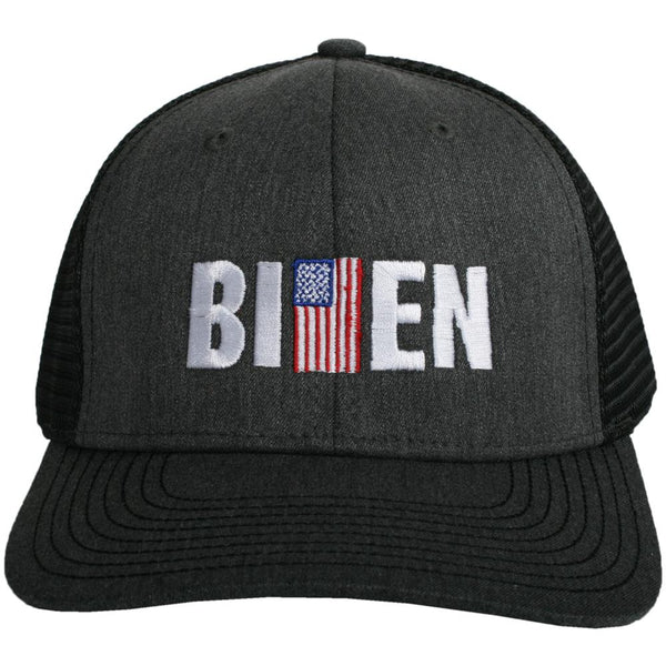 Biden w/ American Flag Men's Trucker Hat-men's hats-Charcoal-Shop-Absolute Paris Boutique-Womens-Clothing-Store