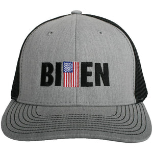 Biden w/ American Flag Men's Trucker Hat-men's hats-Gray-Shop-Absolute Paris Boutique-Womens-Clothing-Store
