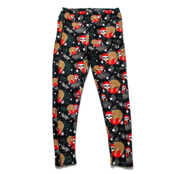 Santa hat sloths full length legging with pockets - Absolute Paris Boutique
