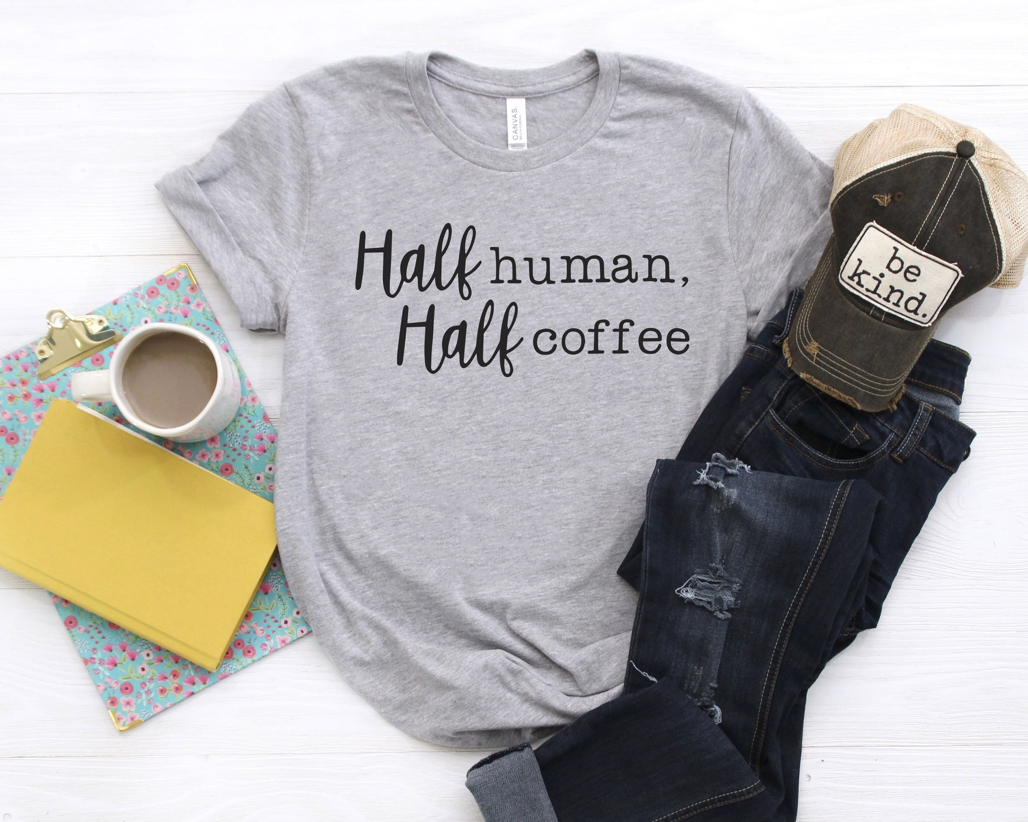Half Human Half Coffee- Retired-Graphic Tee-Shop-Absolute Paris Boutique-Womens-Clothing-Store
