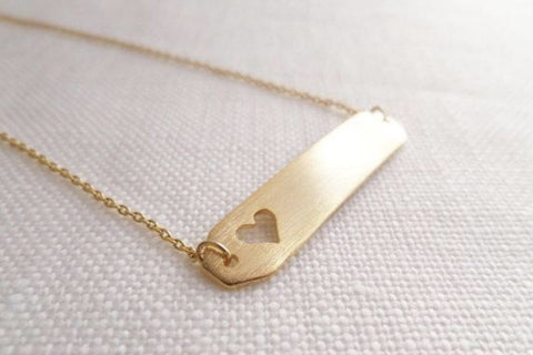 Open Heart Bar Necklace: available in silver, gold, and rose gold.-Necklace-Shop-Absolute Paris Boutique-Womens-Clothing-Store