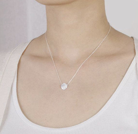 Brushed Dot Pendant: available in gold, silver, and rose gold-Necklace-Shop-Absolute Paris Boutique-Womens-Clothing-Store