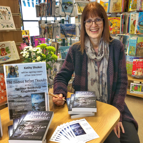 Kathy Shuker at the Harbour Bookshop in Kingsbridge Devon