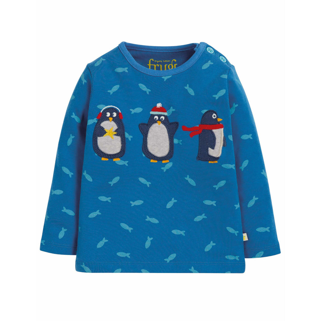 Bluza Frugi Button Applique Swimming Shoals din bumbac organic, Penguin