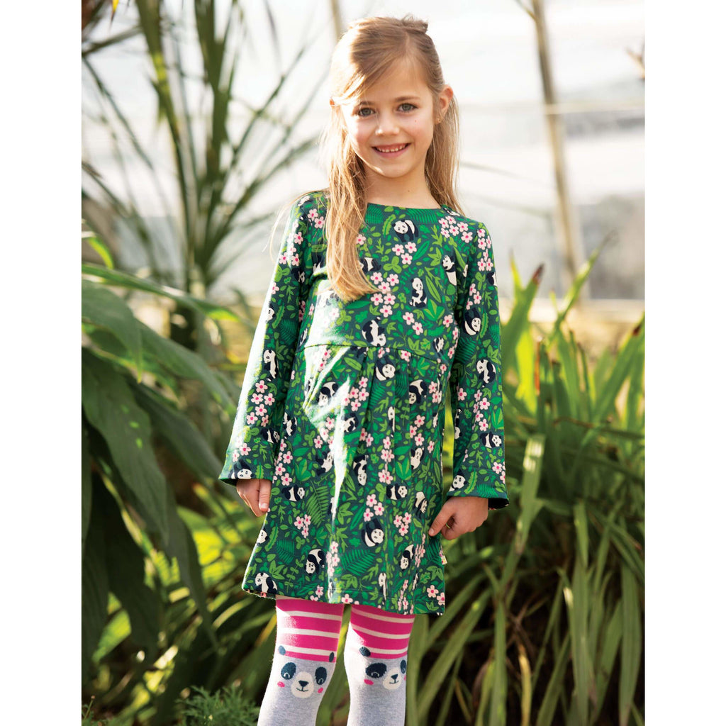 Dresuri copii Frugi Fun Knee  din bumbac organic, Flamingo Stripe/Panda