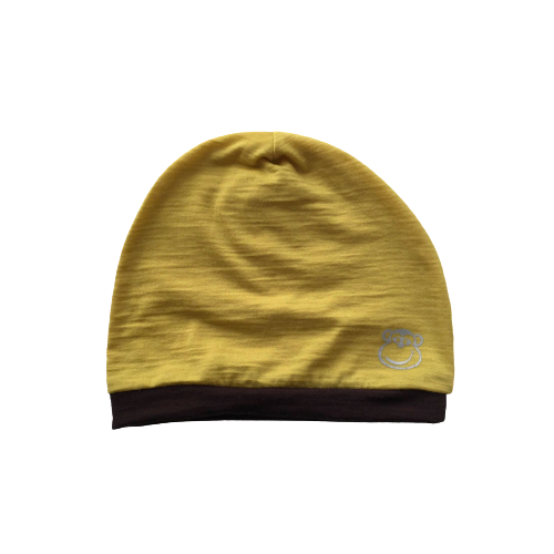 Beanie femei Crawler din 100% lana merinos, Yellow/Brown/ Reflective Monkey
