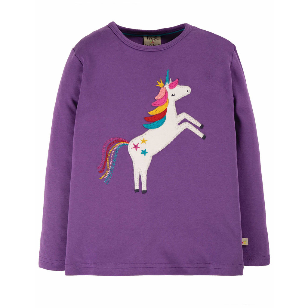 Bluza Frugi Discovery Applique Top din bumbac organic, Thistle/Unicorn