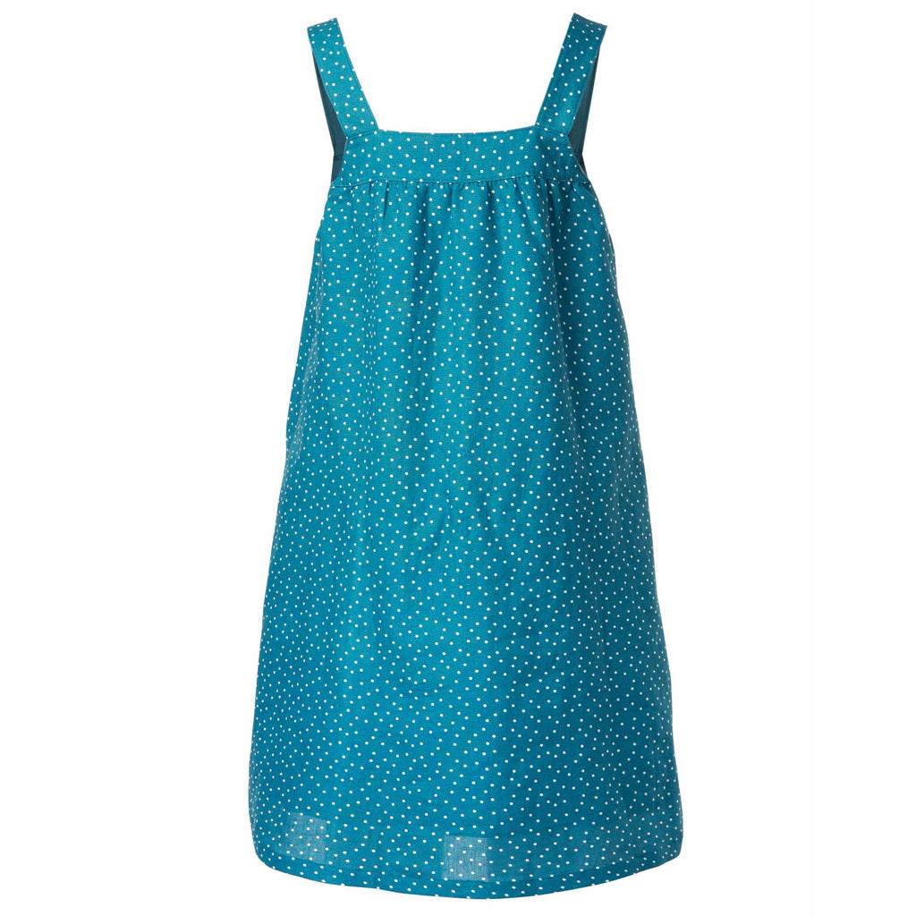Rochie gravida Fern Pinaflore Frugi din bumbac 100% organic, Steely Blue Scatter Spot