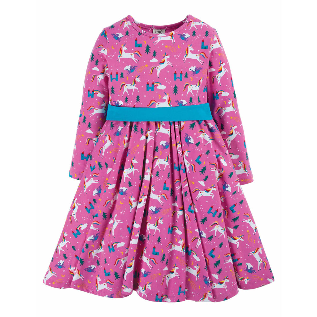 Rochie Frugi Party Skater Dress din bumbac 100% organic, Unicorni