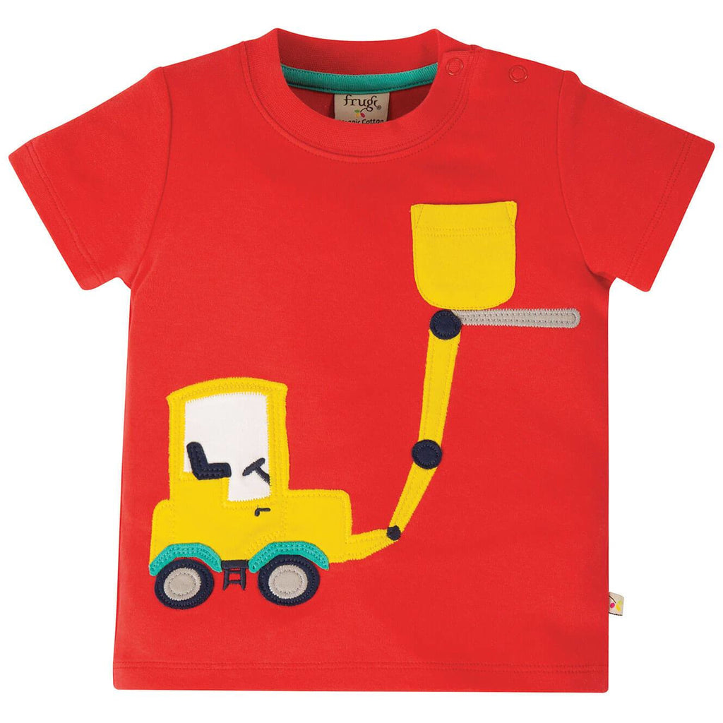 Tricou copii Polzeath Pocket din 100% bumbac organic, Koi Red/Truck