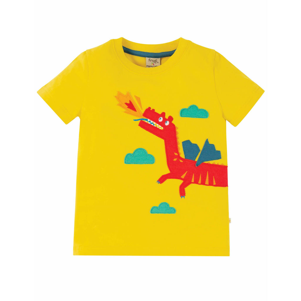 Tricou copii James Applique din 100% bumbac organic, Sunflower/Dragon