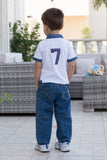 Boy's No-7 Applique Polo Shirt
