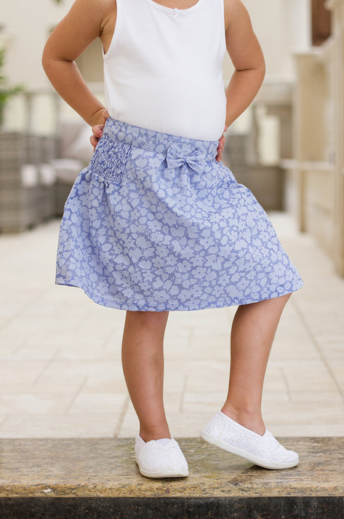 Girl's Floral Ruched Skirt