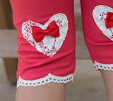 Girl's Cropped Leggings with Lace Hearts