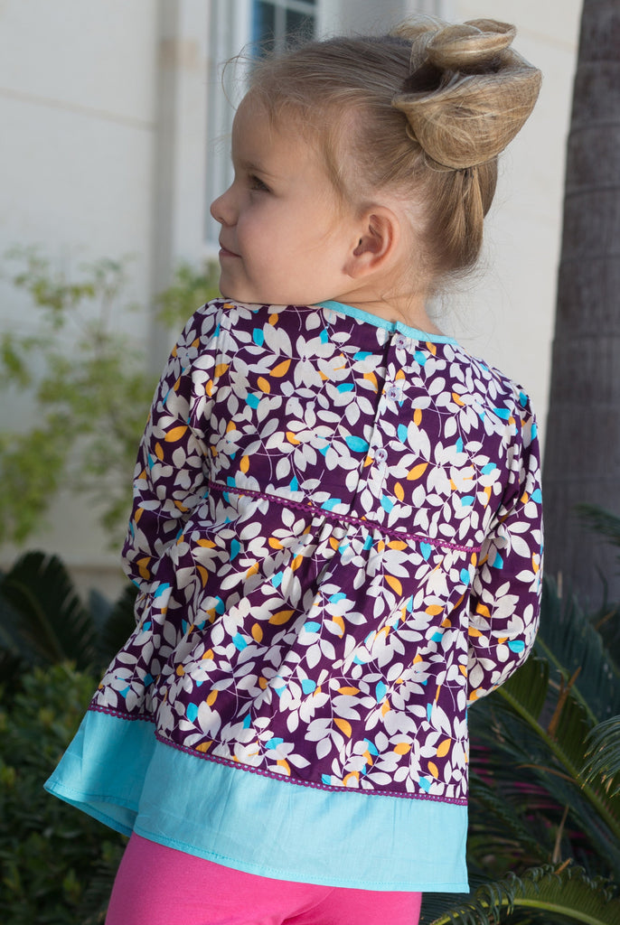 Girl's Leaf Print Blouse