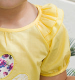 Girl's Floral Applique Top