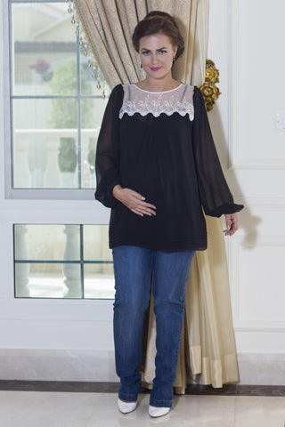 Dress Maternity Georgette Maxi With Ruffle
