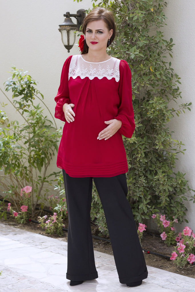 Lace and Georgette Pleated Maternity Blouse
