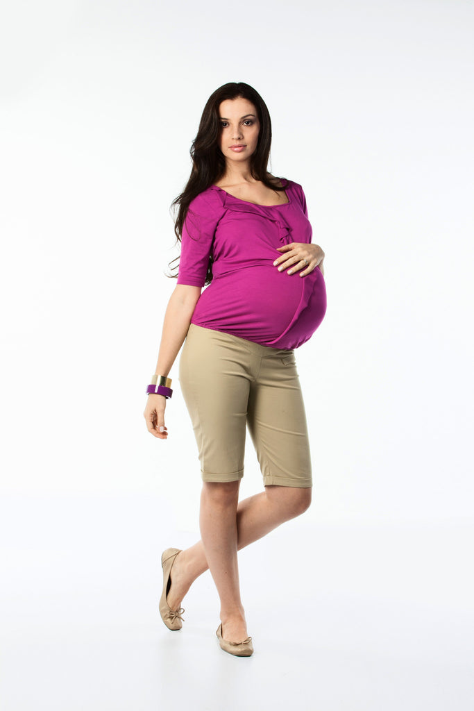 Maternity Ruffle Front Knit Top