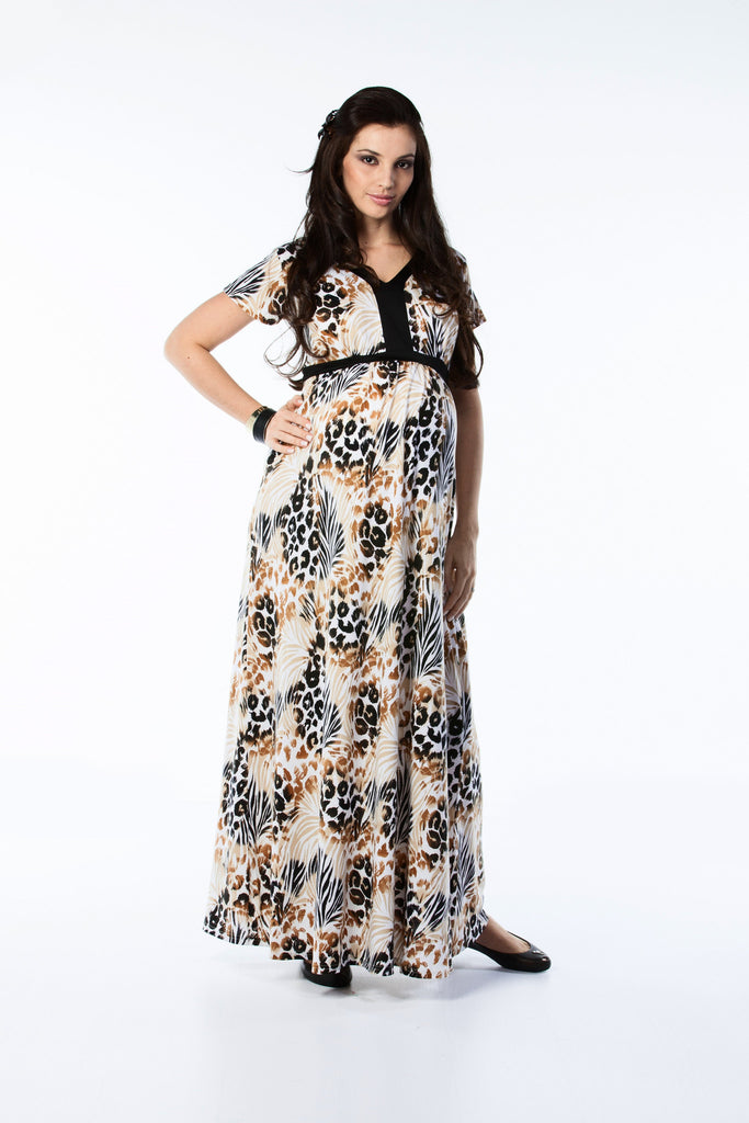 Maternity Maxi Dress Animal Print