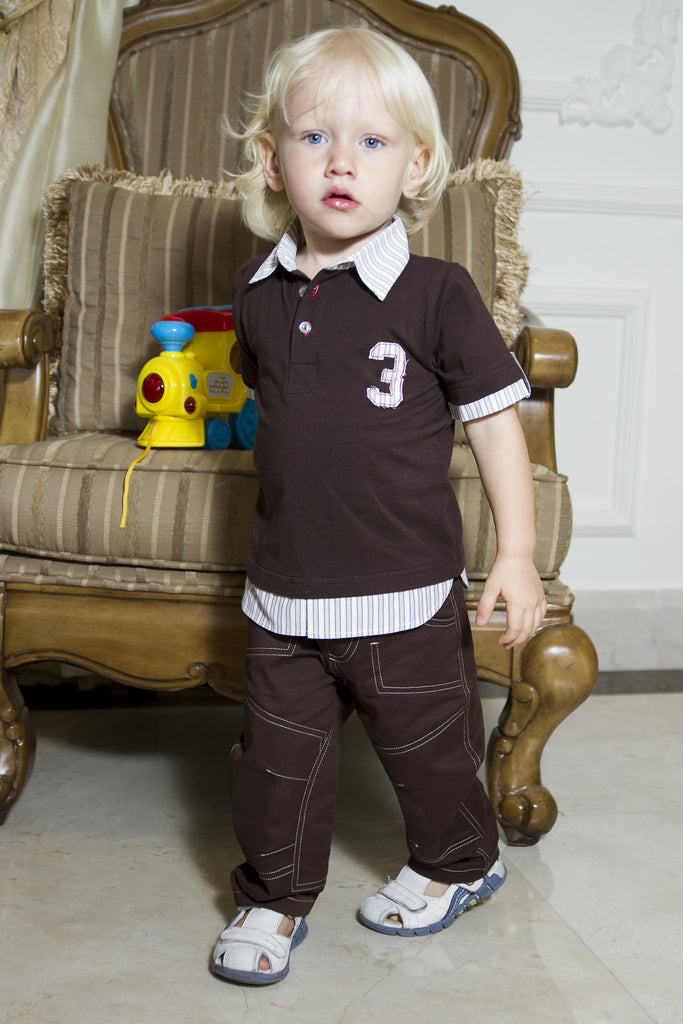 Boy's Topstitched Chinos