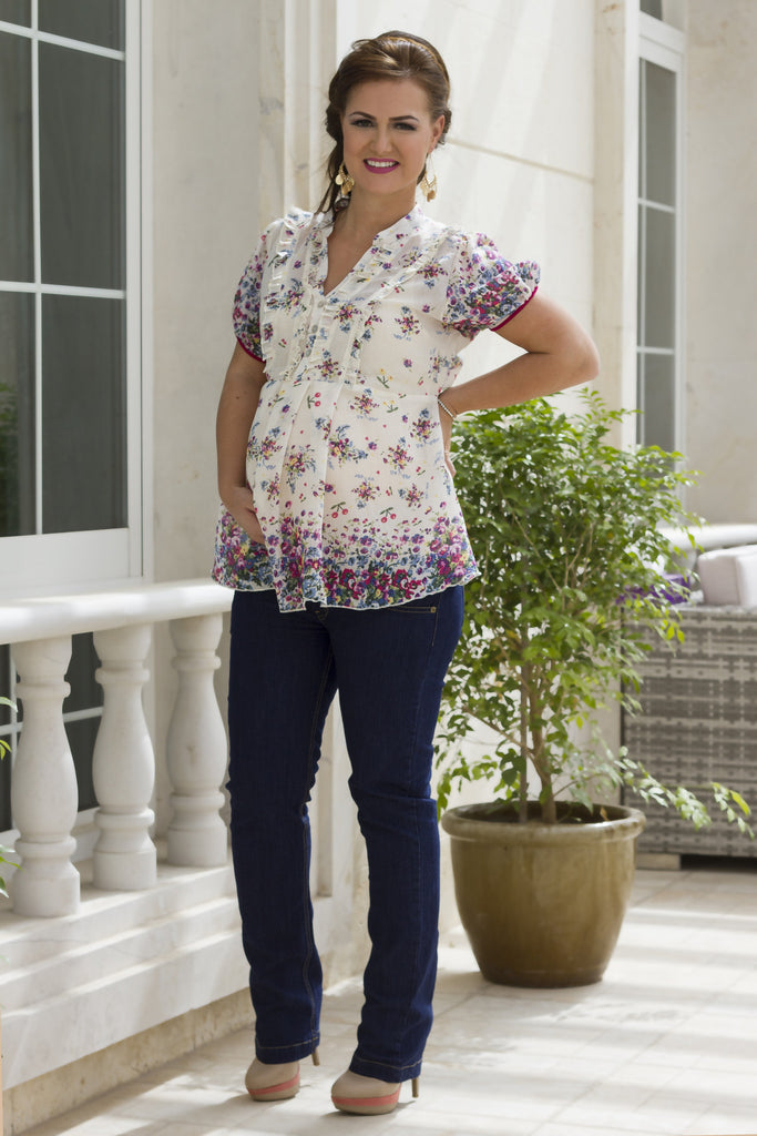 Maternity Floral Peplum Blouse