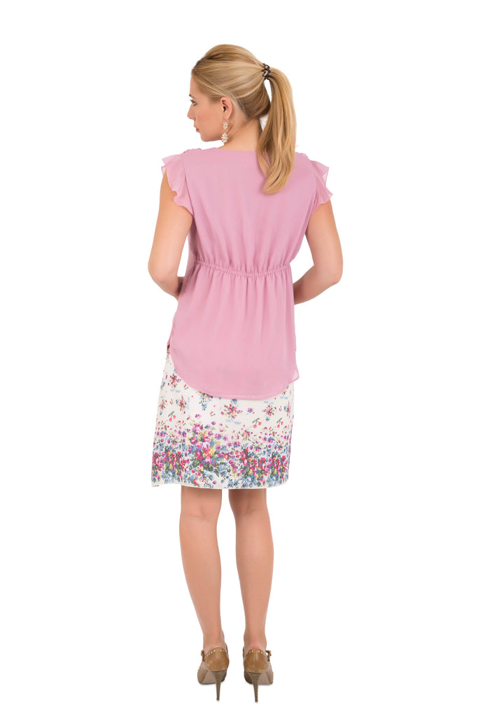 Pink Frilled Maternity Blouse