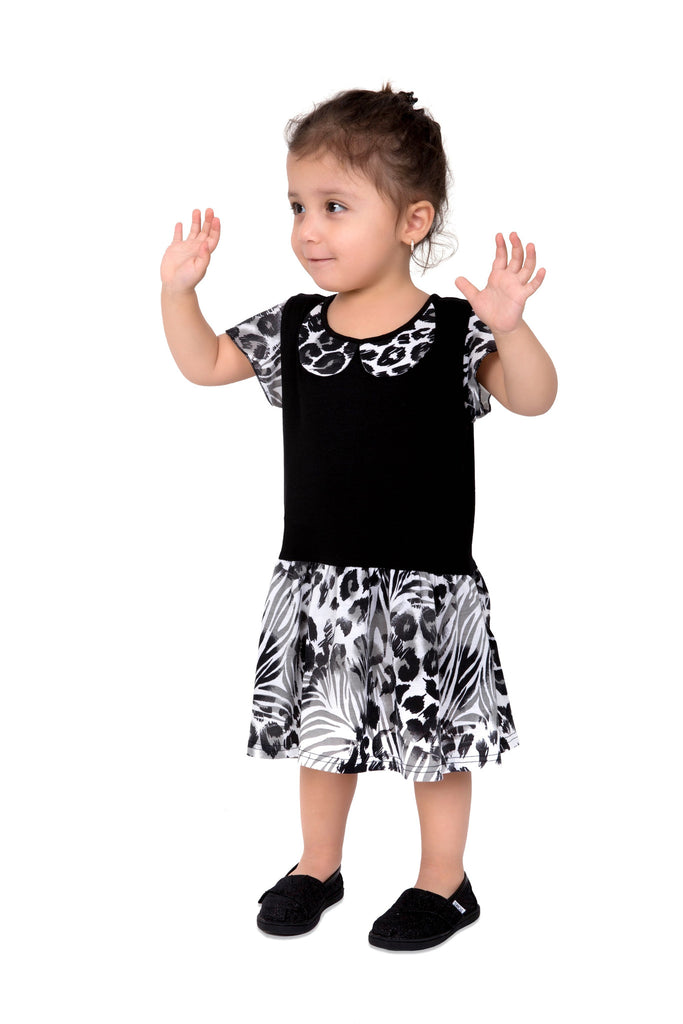 Girl's Printed Black Dress