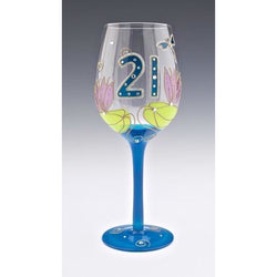 21st Birthday Dragonfly Wine Glass