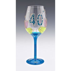 40th Birthday Dragonfly Wine Glass