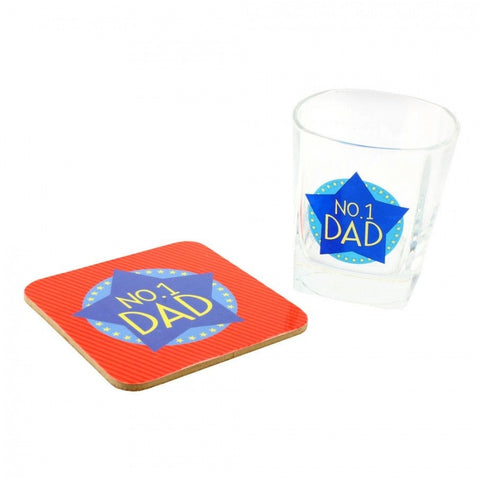 No.1 Dad - Whiskey Glass & Coaster Set - giftpunk.com