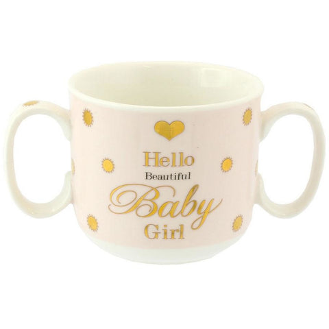 Hello Beautiful Baby Girl - Mad Dots Double Handled Mug - giftpunk.com
