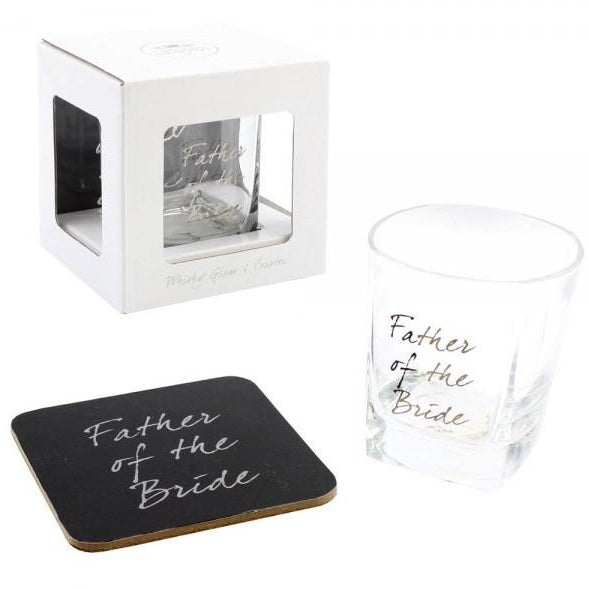 Father of the Bride - Whiskey Glass & Coaster Set - giftpunk.com